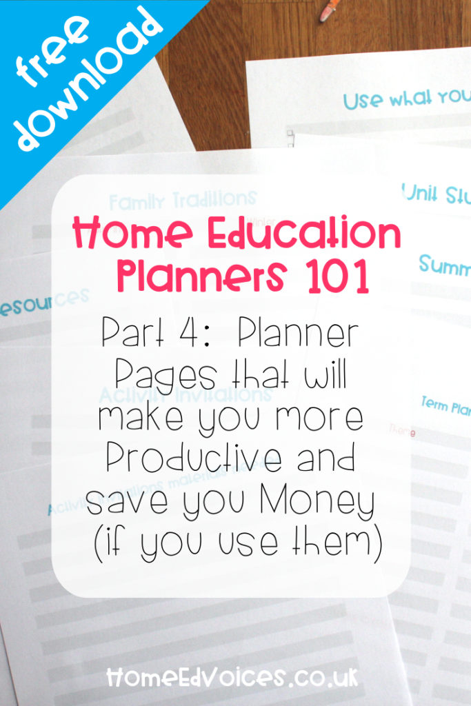 Home Education Planner pt4: Planner Pages that will make you more Productive and save you Money (if you use them)