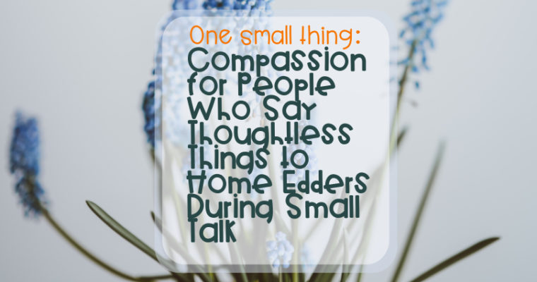 One Small Thing – Compassion for People Who Say Thoughtless Things to Home Edders During Small Talk